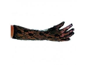Αποκριάτικα μαύρα δαντελένια γάντια 47 εκ