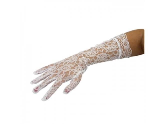 Αποκριάτικο Αξεσουάρ Γάντια Δαντελένια Λευκά