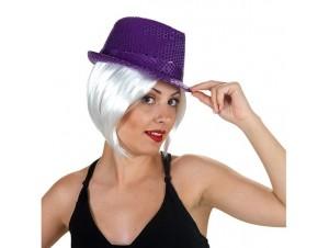 Αποκριάτικο καπέλο με πούλιες μώβ