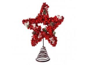 Κορυφή Χριστουγεννιάτικου Δέντρου Αστέρι με Berries 27 εκ
