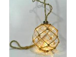 Διακοσμητική μπάλα 10 εκατοστων με λαμπακι χαλκού και μπαταρία