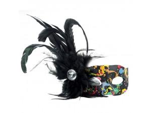 Αποκριάτικη πολύχρωμη μάσκα με φτερό