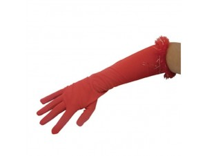 Αποκριάτικα γάντια Μαραμπού με Τίνσελ 45 εκ