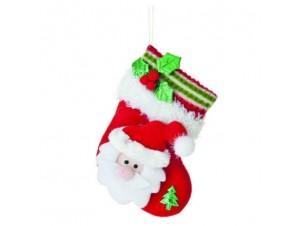 Χριστουγεννιάτικο τσόχινο στολίδι κάλτσα με φατσούλα