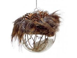 Διάφανη Χριστουγεννιάτικη Γυάλινη Μπάλα με φτερά