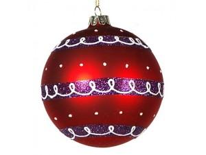 Κόκκινη με Μωβ Χριστουγεννιάτικη μπάλα γυάλινη