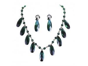 Κολιέ Σκουλαρίκια με πράσινες πέτρες