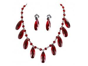 Αποκριάτικο Κολιέ Σκουλαρίκια με κόκκινες πέτρες