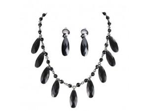 Αποκριάτικο Κολιέ Σκουλαρίκια με μαύρες πέτρες