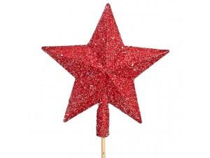 Κορυφή δέντρου Αστέρι Κόκκινη Glitter
