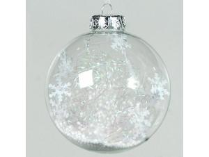 Διάφανη Χριστουγεννιάτικη Γυάλινη Μπάλα με νιφάδες στο εσωτερικό της