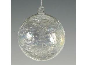 Διάφανη Ασημί Χριστουγεννιάτικη Μπάλα