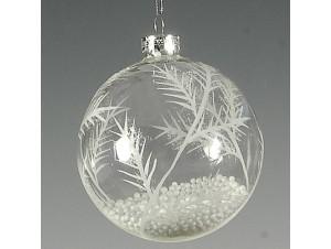 Γυάλινη Λευκή Χριστουγεννιάτικη Μπάλα με γέμισμα