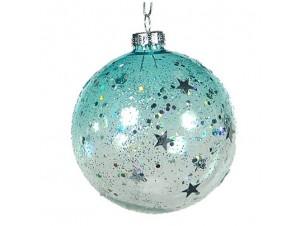 Χριστουγεννιάτικη Γυάλινη Μπάλα γαλάζια