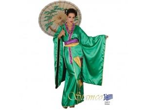 Αποκριάτικη στολή Γκέισα πράσινο κιμονό