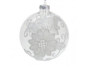 Διάφανη Χριστουγεννιάτικη Γυάλινη Μπάλα με λουλούδι