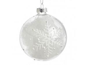 Διάφανη Χριστουγεννιάτικη Γυάλινη Μπάλα με νιφάδες