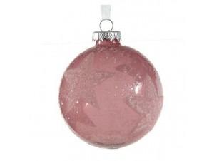 Χριστουγεννιάτικη Γυάλινη Μπάλα Ροζ