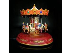 Χριστουγεννιάτικο μηχανικό Carousel με αλογάκια
