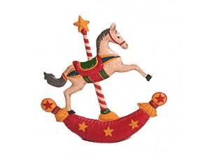 Χριστουγεννιάτικο κουνιστό αλογάκι ξύλινο