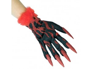 Αποκριάτικα Αξεσουάρ Γάντια με νύχια και κόκκινες φλόγες