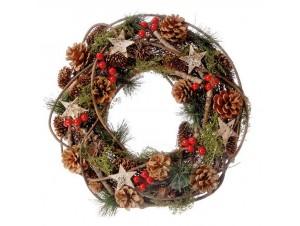 Χριστουγεννιάτικο στεφάνι με γκυ και κουκουνάρια