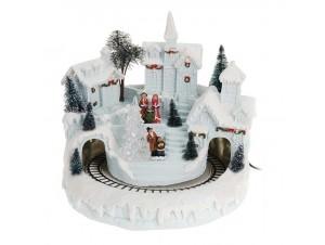 Χριστουγεννιάτικο σπιτάκι πύργος τούνελ φωτιζόμενο 24 x 23 x 23 εκ.