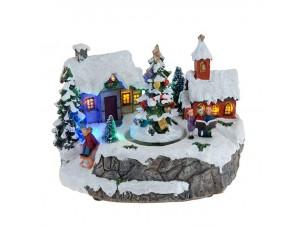 Χριστουγεννιάτικο σπιτάκι με χορωδία φωτιζόμενο 15 εκ.