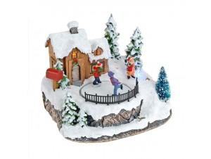 Χριστουγεννιάτικο σπιτάκι με παγοδρόμιο φωτιζόμενο 15 εκ