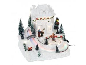 Χριστουγεννιάτικο σπιτάκι παγοδρόμιο φωτιζόμενο 25x21x23 εκ.