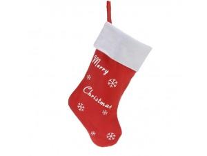 Χριστουγεννιάτικη κάλτσα 43 εκ. με ευχές Merry Christmas