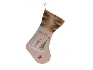 Χριστουγεννιάτικη κάλτσα 48 εκ. με Χριστουγ. παράσταση SNOW