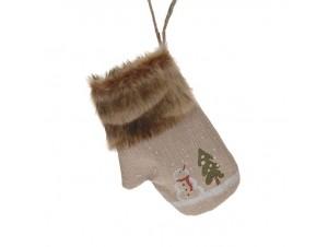 Χριστουγεννιάτικη κάλτσα 24 εκ. με έλατο και χιονάνθρωπο