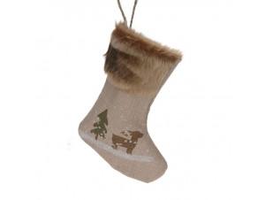 Χριστουγεννιάτικη κάλτσα 24 εκ. με ελαφάκι και έλατο