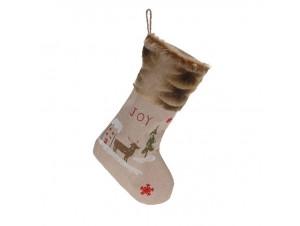 Χριστουγεννιάτικη κάλτσα 48 εκ. με Χριστουγ. παράσταση JOY