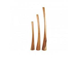 Ξύλινες στήλες κηροπήγια Set 3 τεμ