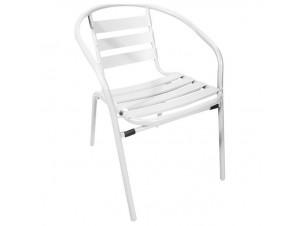 Πολυθρόνα αλουμινίου λευκή
