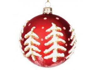 Κόκκινη Χριστουγεννιάτικη Γυάλινη Μπάλα