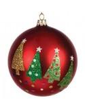 Κόκκινη Χριστουγεννιάτικη Γυάλινη Μπάλα με σχέδιο δεντράκι