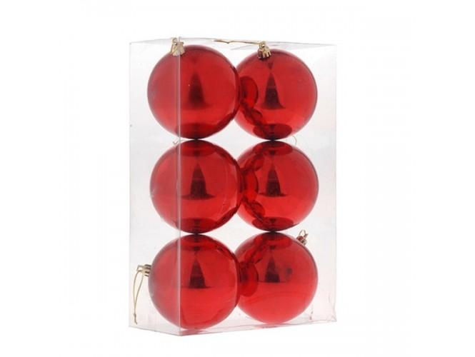 Σετ 6 τεμ.Κόκκινη Χριστουγεννιάτικη Μπάλα