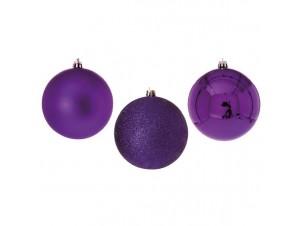 Μωβ Χριστουγεννιάτικη Μπάλα SET 12 τεμάχια