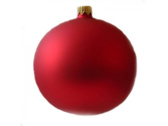 Κόκκινη ματ γυάλινη Χριστουγεννιάτικη Μπάλα
