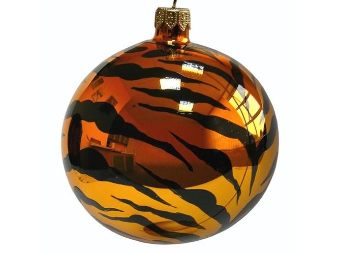 Χρυσή γυάλινη μπάλα με μαύρες λωρίδες