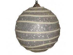 Ασημί Άθραυστη Χριστουγεννιάτικη Μπάλα Twist