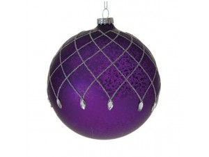 Γυάλινη Μωβ Χριστουγεννιάτικη Μπάλα