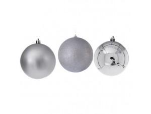 Set 6 τμχ. Ασημί Χριστουγεννιάτικη Μπάλα