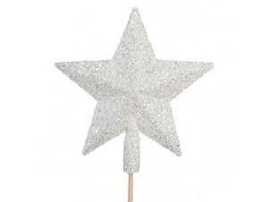 Κορυφή δέντρου Αστέρι Άσπρο- Ασημί Glitter