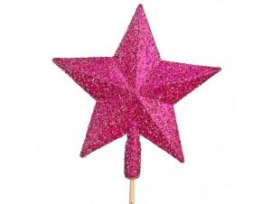 Κορυφή δέντρου Αστέρι Ροζ Glitter