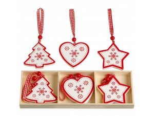 Σετ 9 τεμ. Χριστουγεννιάτικο ξύλινο διακοσμητικό