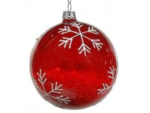 Γυάλινη κόκκινη Χριστουγεννιάτικη Μπάλα